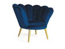 Fotel MAGNOLIA velvet - złoty/granatowy Bluvel 86