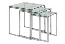 ACTONA zestaw stolików KATRINE TRIO  - szkło, chrom