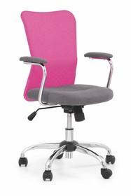 Fotel młodzieżowy ANDY - popiel/różowy