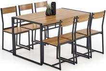 BOLIVAR zestaw stół + 6 krzeseł dąb złoty / czarny (1p=1szt)
