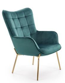 Fotel wypoczynkowy CASTEL 2 - złoty/ciemny zielony