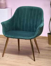 ELEGANCE 2 fotel wypoczynkowy tapicerka - ciemny zielony, nogi - złote (1p=1szt)