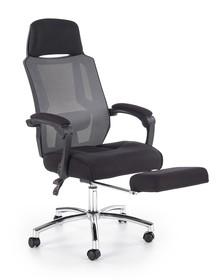 Fotel pracowniczy z podnóżkiem FREEMAN - czarny / popielaty