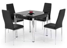 Stół rozkładany KENT 80x80 - chrom/czarny