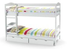 Łóżko piętrowe z materacami SAM - białe