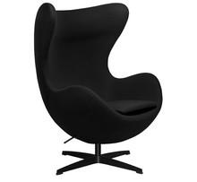 Fotel EGG CLASSIC BLACK wełna - czarny