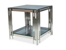 Ława FOSSIL B 55x55 - srebrny/szkło dymione