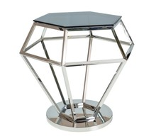 Ława ROLEX - srebrny/szkło dymione