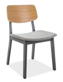 Wymiary: - Wysokość: 77 cm - Wysokość siedziska 42 cm - Długość: 40 cm - Szerokość: 45 cm Materiał: - Tkanina - Drewno  Kolor:  - Szary - Dąb