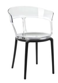 Fotel ERO - transparentny/czarny