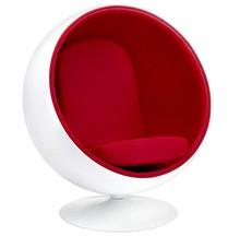 Fotel BALL - biały/czerwony