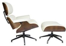 Fotel LOUNGE z podnóżkiem - biały/sklejka orzech