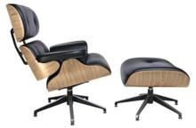Fotel LOUNGE z podnóżkiem - czarny/sklejka jesion