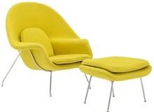 Fotel COZY z podnóżkiem - musztardowy
