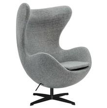 Fotel EGG CLASSIC BLACK wełna - szara kratka