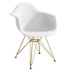 Fotel DAR GOLD biały.01 - polipropylen, podstawa złota