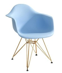 Fotel DAR GOLD jasny niebieski.12 - polipropylen, podstawa złota