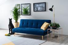 Sofa rozkładana MORITZ Velvet - granatowy/złoty