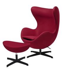 Fotel EGG CLASSIC BLACK z podnóżkiem  - bordowy.7 - wełna, podstawa czarna