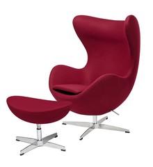 Fotel EGG CLASSIC z podnóżkiem bordowy.7 - wełna, podstawa aluminiowa