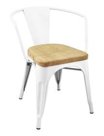 Krzesło TOWER ARM WOOD białe - metal