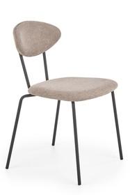 K361 krzesło, tapicerka -  jasny brąz / orzech, nogi - czarny