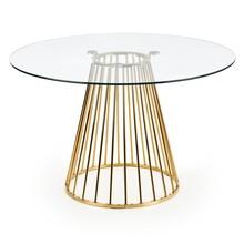 Stół okrągły LIVERPOOL - transparentny/złoty