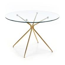 Stół okrągły RONDO 110 cm - transparentny/złoty