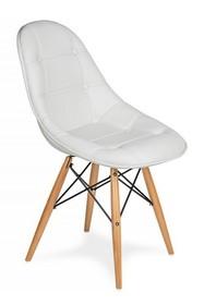 Krzesło EKO WOOD czysta biel T3 - ekoskóra, podstawa bukowa