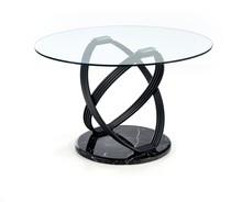 Stół okrągły OPTICO 120 cm - transparentny/ czarny