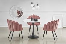 Stół okrągły AMBROSIO - marmur/czarny