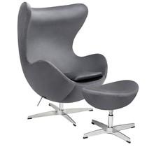 Fotel EGG CLASSIC VELVET ciemny szary z podnóżkiem - welur, podstawa aluminiowa