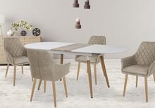 Stół rozkładany CALIBER 160x90 - biały/dąb san remo