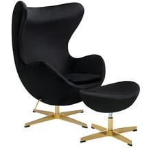 Fotel EGG CLASSIC VELVET GOLD czarny z podnóżkiem - welur, podstawa złota