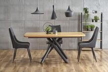 Stół rozkładany DERRICK - dąb naturalny/ czarny