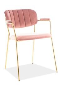 Krzesło CARLO II VELVET - różowy