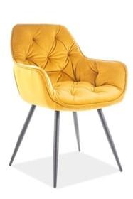 Krzesło CHERRY VELVET- żółty Bluvel 68