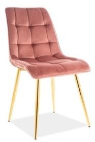 Krzesło CHIC VELVET - złoty/antyczny róż Bluvel 52