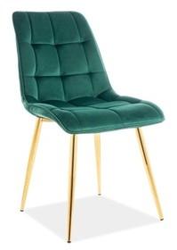 Krzesło CHIC VELVET - złoty/zielony Bluvel 78