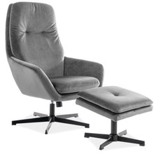 Fotel z podnóżkiem FORD VELVET - szary Bluvel 14