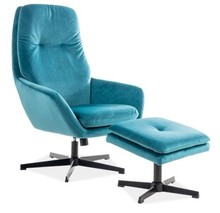 Fotel z podnóżkiem FORD VELVET - turkus Bluvel 85