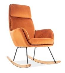 Fotel bujany HOOVER VELVET - pomarańczowy