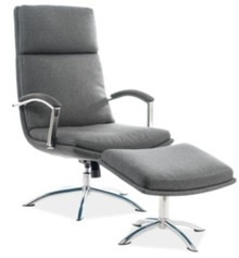 Fotel z podnóżkiem JEFFERSON - szary