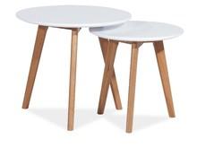 Zestaw stolików MILAN S2 - biały/dąb