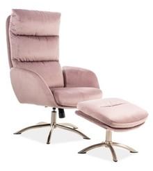 Fotel z podnóżkiem MONROE VELVET - różowy Bluvel 52