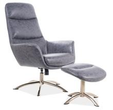 Fotel z podnóżkiem NIXON - szary