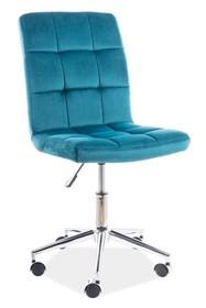 Fotel obrotowy Q-020 VELVET - turkusowy Bluvel 85