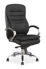 Fotel biurowy Q-154 skóra naturalna - czarny