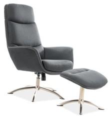 Fotel z podnóżkiem REGAN - szary