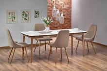 Stół rozkładany BARRET - biały mat/dąb lefkas